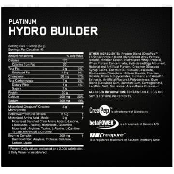 PLATINUM HYDROBUILDER 2100 грамм OPTIMUM NUTRITION