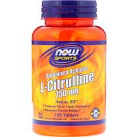 L-CITRULLINE 750 мг 120 таб. медленного высвобождения NOW Foods