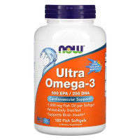 Ultra omega-3 fish gelatine 180 капсул NOW Foods