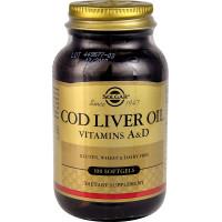 Cod Liver Oil (витамины А, D) 100 жидких капсул Solgar