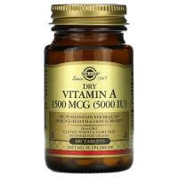 Dry Vitamin A (витамин А) 5000 МЕ 100 таблеток Solgar