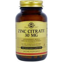 Zinc Citrate (цинк цитрат) 30 мг 100 растительных капсул Solgar