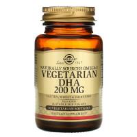 Omega-3 Vegetarian DHA (омега-3, ДГК) 200 мг 50 растительных капсул Solgar