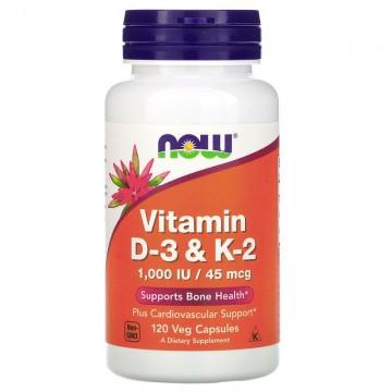 Vitamin D-3 & K-2 1000 МЕ / 45 мкг 120 вег. капсул NOW Foods