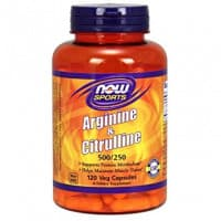 ARGININE 500 мг CITRULLINE 250 мг 120 вег. капсул NOW Foods