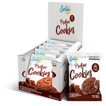 Шоколадное протеиновое печенье с шоколадными чипсами 50 г Solvie