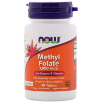METHYL FOLATE 1,000 мкг 90 таб. NOW Foods